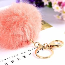Garment plush faux fox fur keychain / Pelt dyed pompom key chain / Cheap pom pom keychain purse pendant handbag charm