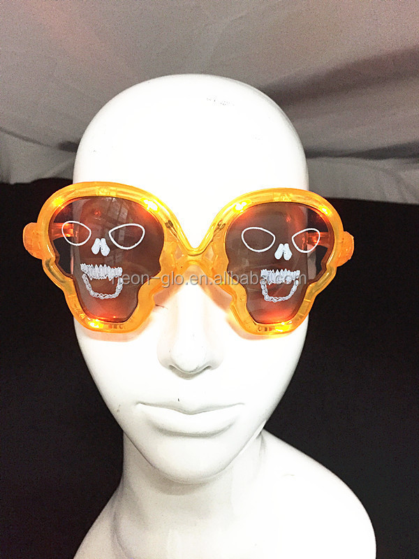 halloween skull shaped Goth LED light up flashing blinking sunglasses Gothic Halloween party Costume Accessory yellow