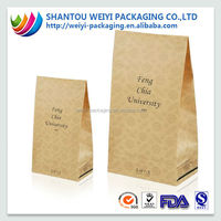 Factory price food grade eco friendly flat bottom paper packaging bag for fried chicken, potato chips