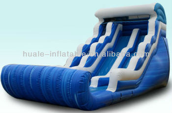 Ocean curve wave slide giant ocean wave inflatable wet water slide with swimming pool