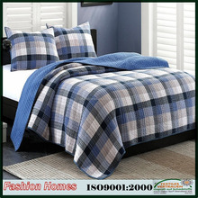 Wholesale Blue Printed Plaid Patchwork Quilt for Men