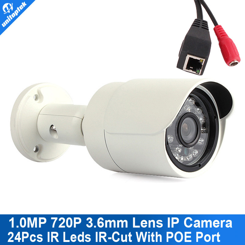 Onvif 720P 3.6mm Night Vision Waterproof POE Bullet IP Camera With 24PCS Leds