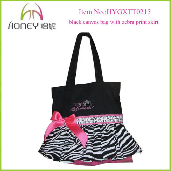 New Arrival Black Canvas College Tote Bag Women With Zebra Print Skirt