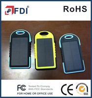 5000mAh Rain/Dirt/Shockproof Solar Panel Charger Dual USB Port Portable Charger Backup External Battery Power
