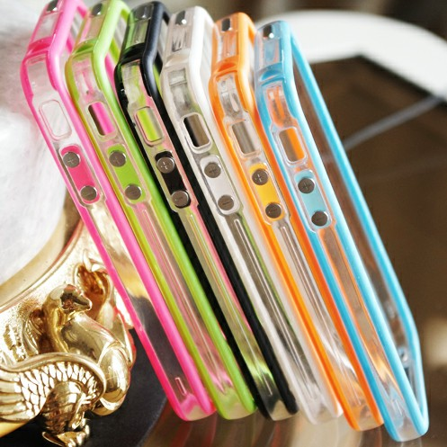 Transparent PC tpu new trendy cell phone bumper frame for iphone5 dual-color bumper frame case
