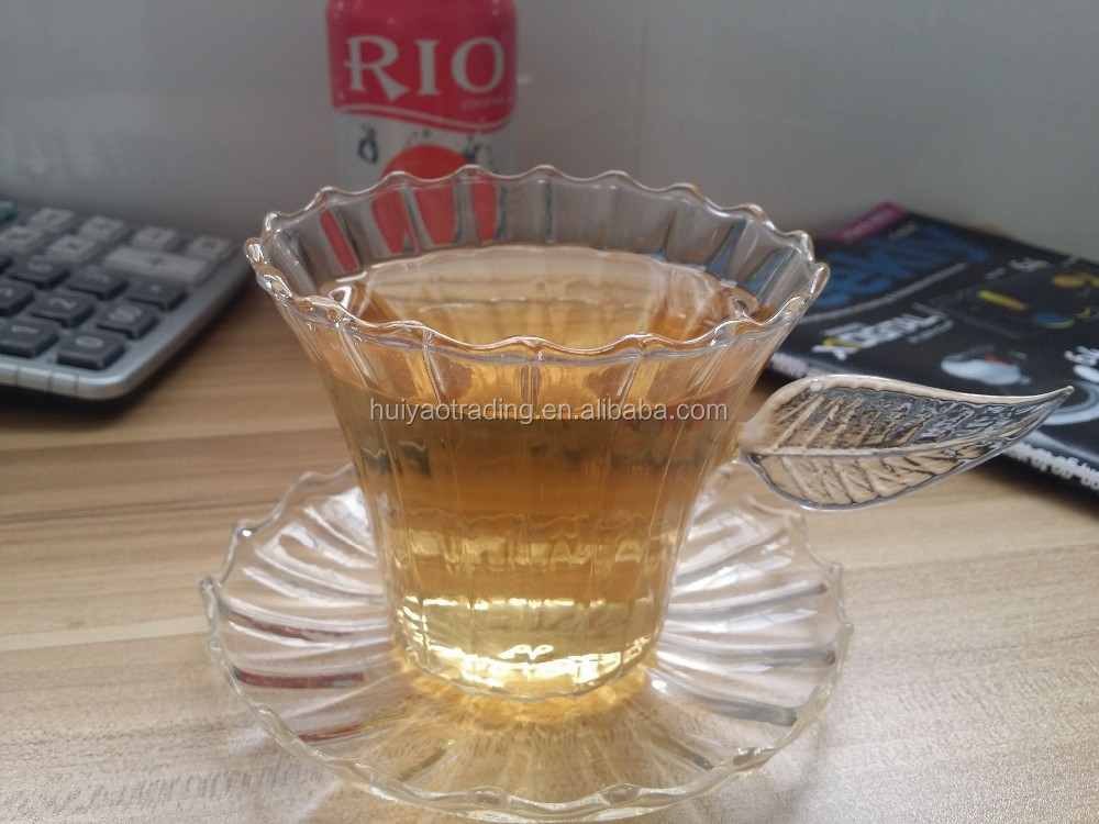 Stripe Glass Cup With Glass Dish China Tea Cup Leaf Handle