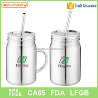 BPA free insluted stainless steel material mason jar with straw