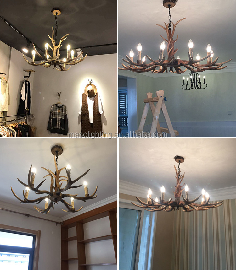 wholesale large round antler candle chandelier antique metal pendant lamp hotel lobby decor herman miller
