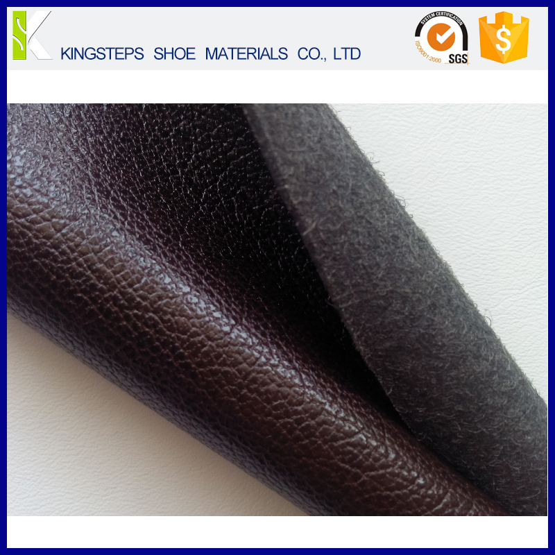 Lichi pattern micro fiber leather in PU synthetic leather for shoes upper dark brown color thickness 1.2mm KS-HD7313