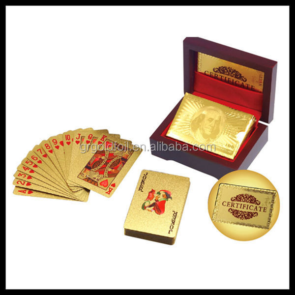 Wooden box Guru Gold 24kt Dollar Design Silver Plated Playing Cards