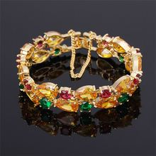 Best prices OEM design woman red green yellow beads inset charm crystal beads golden bracelet jewellery
