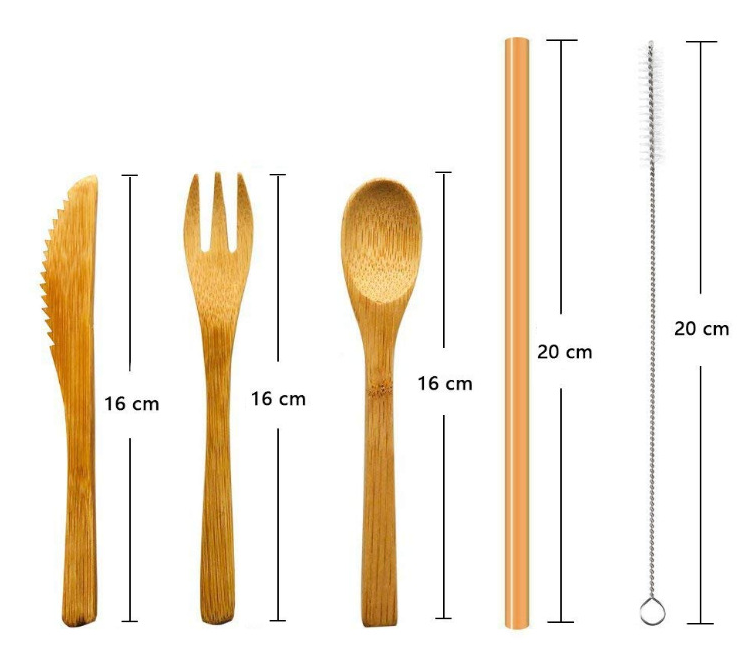 Wholesale Straw Fork Knife With Cloth Bag fiber bamboo cutlery