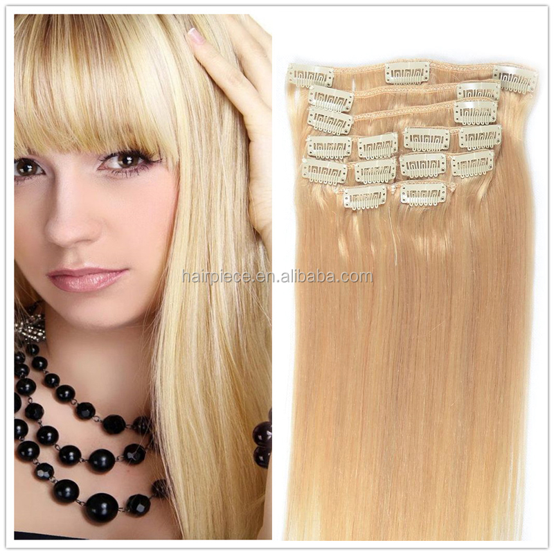 <strong>13</strong> Colors Available Clip Hair Extension Hot Sale Clip in Hair Straight Brazilian Virgin Clip in Hair Extension Full Head Set