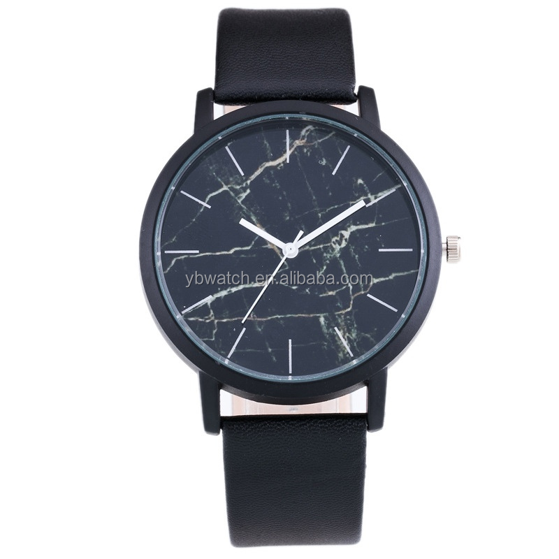 Hot fashion simple marble stone face men's watch custom logo Japan movt leather band quartz watch