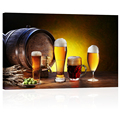 "Bar Decoration Beer Picture Printed on Canvas HD Photo Canvas Art Ready to Hang Framed Canvas Painting (24""x36"")"
