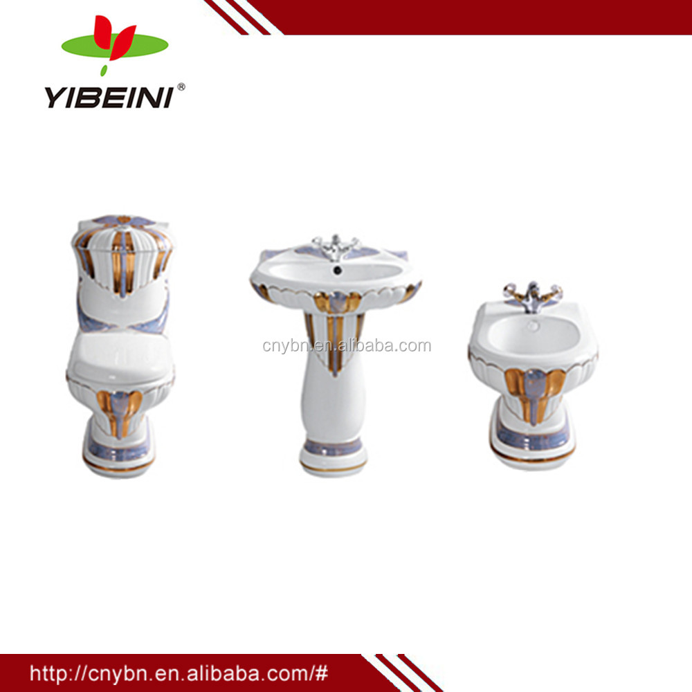 Sanitary Ware decorated ceramic bathroom set two piece toilet