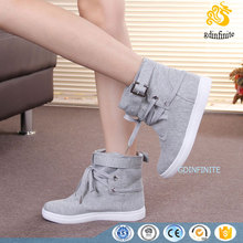 wholesale women casual ankle boots Canvas flat lady comfort shoes