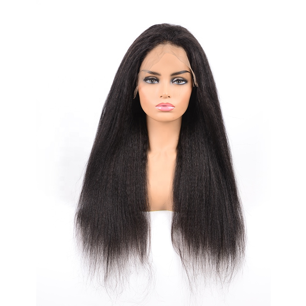 High Quality Low Price Salable  Indian Yaki Straight Virgin Human Hair Lace Front Wig For Black Women