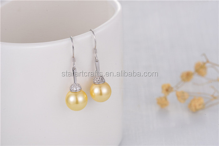925 sterling silver jewelry shell pearl drop earrings factory Gold earrings 8mm