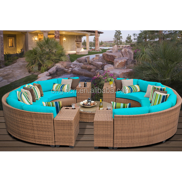 14 Seaters Circular Full Round Patio Furniture With Drink Table
