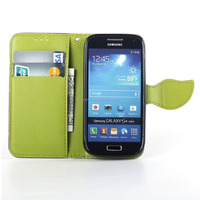 PU leather flip cover for samsung galaxy s4 mini i9190 i9192 case