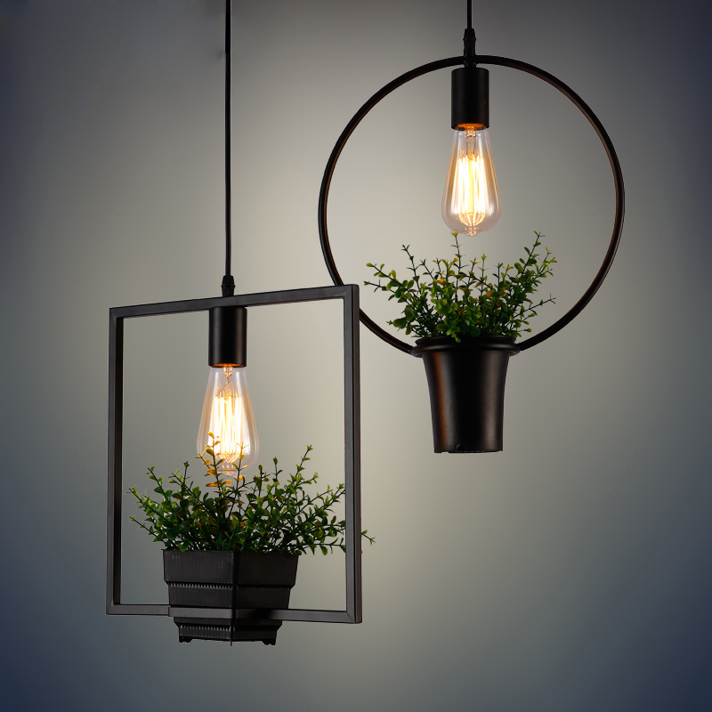 Iron Retro Industrial Plants Individual indoor pendant lamp UL Creative Art Terrace Nordic vintage Lights BK1138P