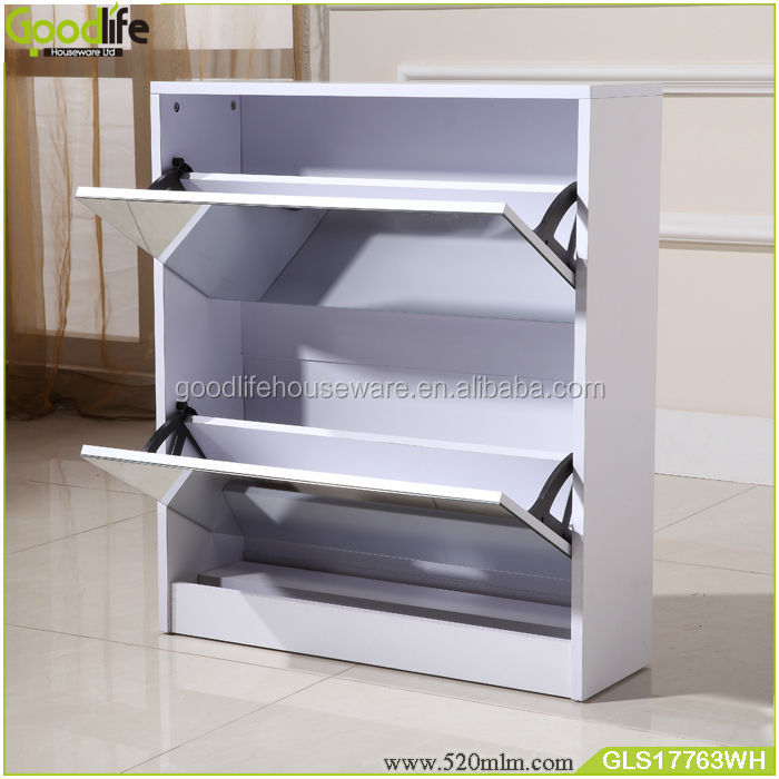 DIY mirrored wooden shoe cabinet for home