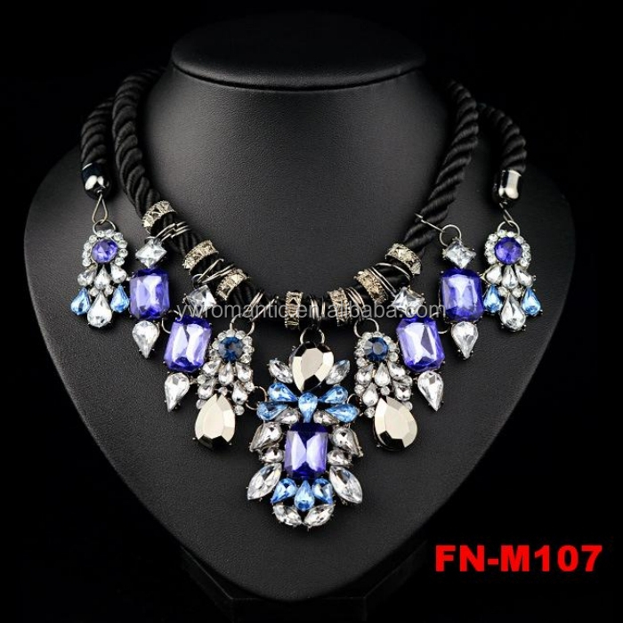 New stocks popular luxury black rope chunky statement shourouk necklace