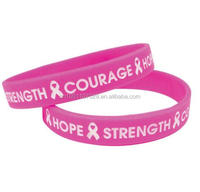 breast cancer bracelets with Pink Ribbon, hot sale in amazon silicone rubber wristbands with message