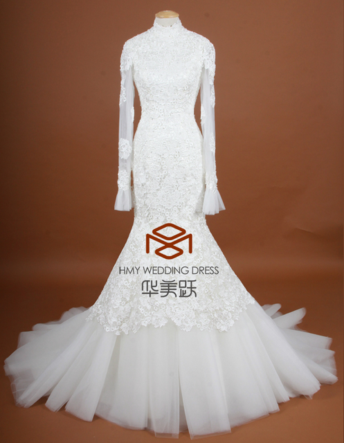 SuzhouHMY-S091 Real Images Customized Full Lace Mermaid High Neck Appliques Backless Long Sleeves Bride Dress Wedding Dress