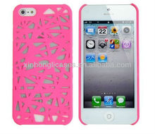 Rubberized Hard Case for Apple iPhone 5 - Bird Nest (Hot Pink)
