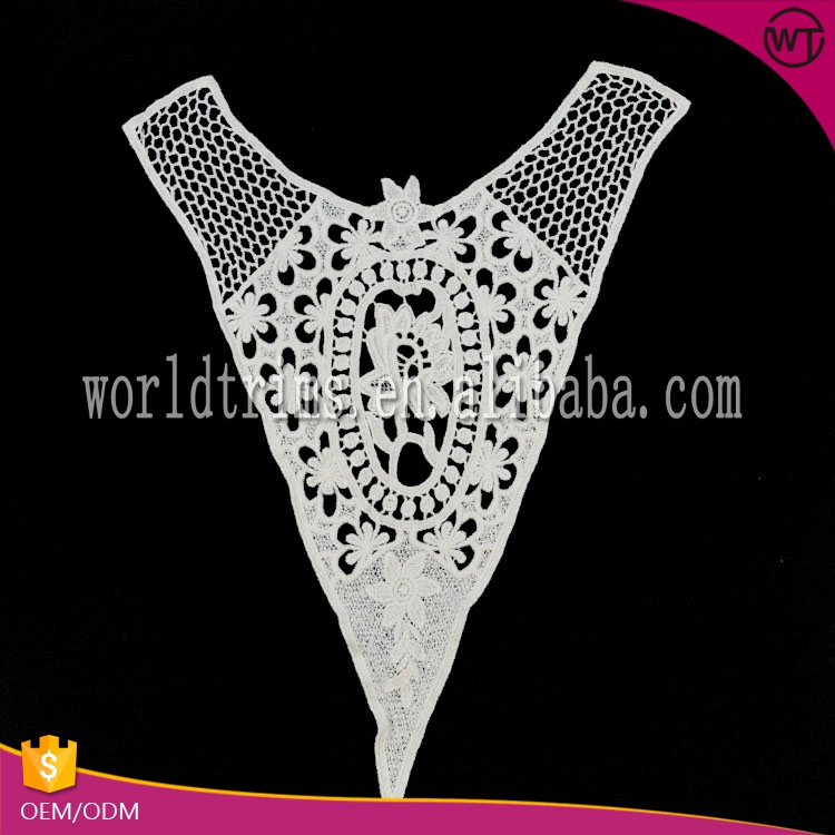 Clothing accessories new design V neck ecru embroidery designs motif
