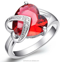 Ruby Red Heart Shaped Zircon Women Wedding Engagement Jewelry Ring Wholesale CRI0046-B