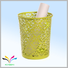 Hollow Pattern yellow metal Waste basket Decorative Design Paper Bin Trash Can Dustbin Garbage Bin