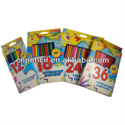 12 pcs school set colored drawing pencil with metallic stripping CN-011