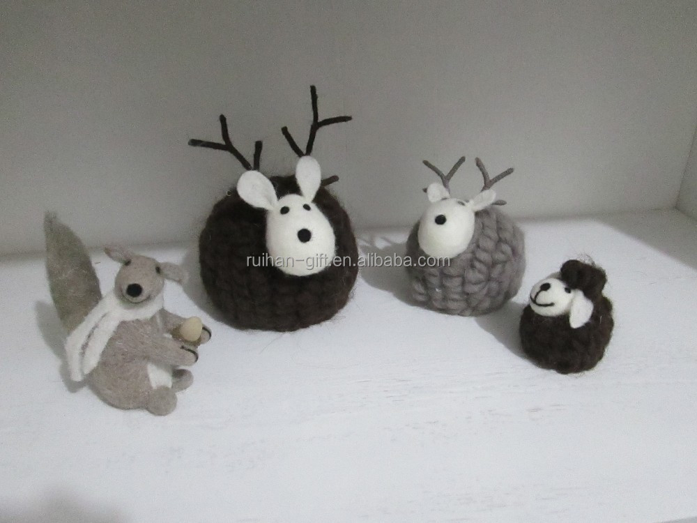 100% pure wool felt christmas gift home desk decor deer sheep mouse