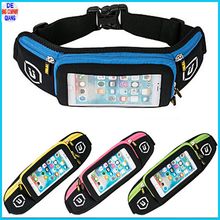 Sport running waist bag mobile phone key holder waist belt pack with three zipper bag