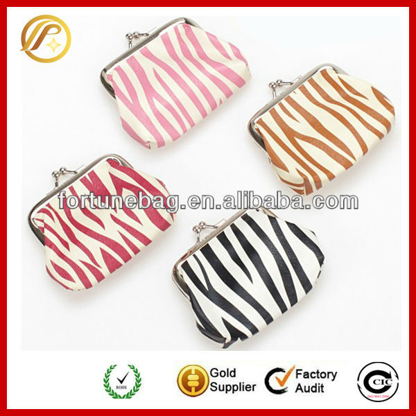 Metal frame colorful zebra purses