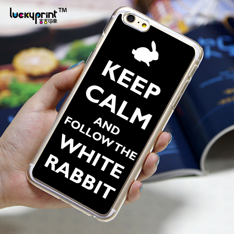 Kepp Calm Alice White Rabbit phone cover for iphone 4/5/6
