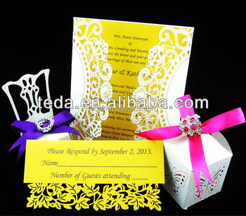 2015Teda Wedding invitation card matched thank you card(FC-010)