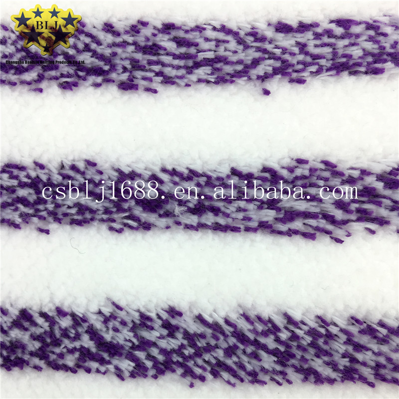 Purple Mixed White Stripe Color Microfiber Machine Knitted Mop Fabric For Home Cleaning China Supplier