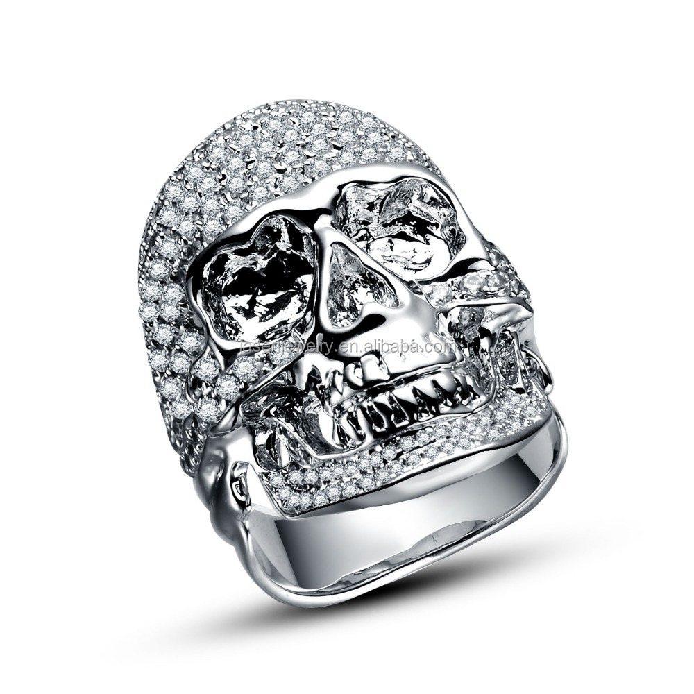 New Arrival Gemstone Jewelry Solid Silver Skull Mens Wedding Bands