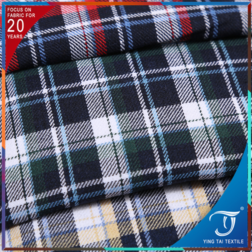 Wholesale Stock Flannel Brushed Check Printed Cotton Scotland Fabric For Skirt