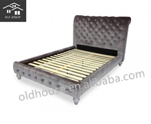 French upholstered wooden bed for bedroom/French bed with cream-colored OH-BZ1002