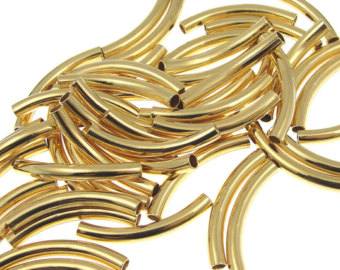 Gold Plated Curved Tube Beads Gold Tube Beads Gold Noodles Jewelry