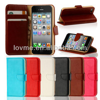GENUINE LEATHER VINTAGE FLIP WALLET CASE COVER FOR THE NEW iPhone 4 4S