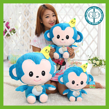 High quality stuffed toy plush blue monkey toy with yellow banana