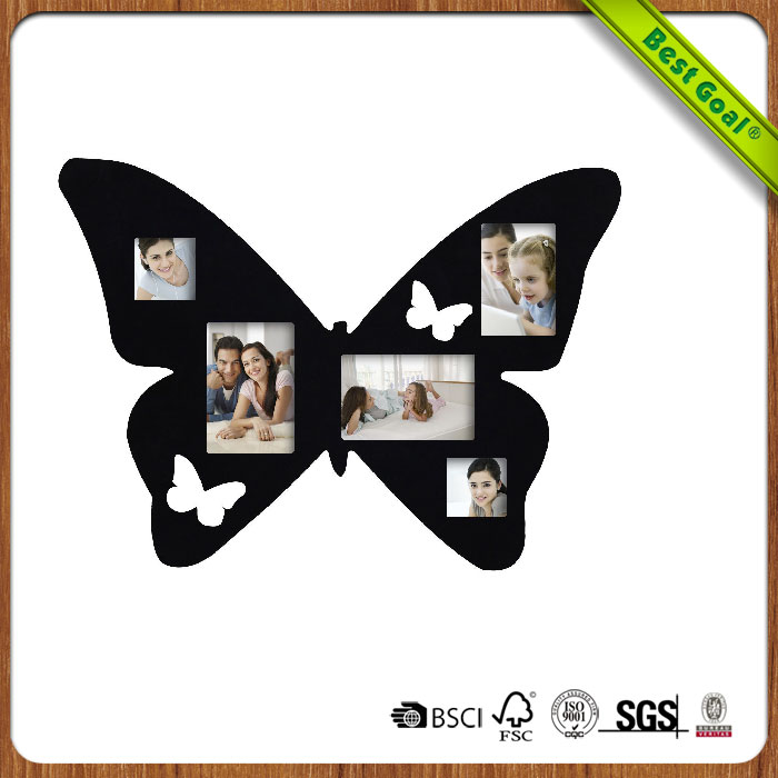 Decorative Black Wood Butterfly Wall Hanging Collage Picture Photo Frame