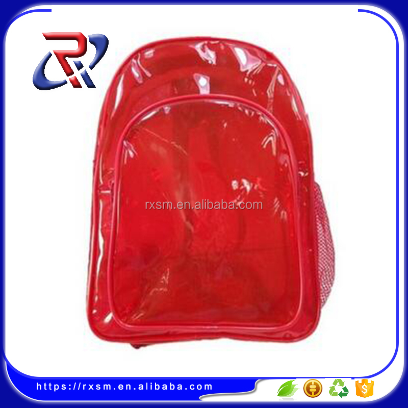 Clear Transparent PVC School Book Bag , Kids <strong>Backpack</strong> red