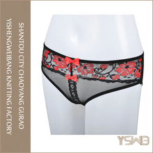 Customized red lace breathable hot sexy mesh girls transparent panties